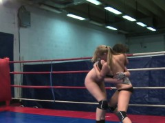 Lesbian orally pleasured after wrestling