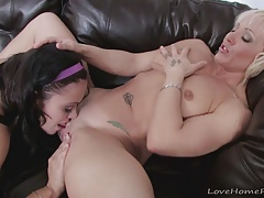Hot milfs pleasure each other after some sports