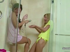 Two Petite Virgin in First Time Lesbian When Home Alone