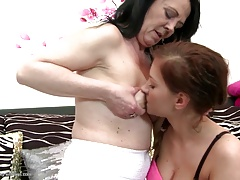 Granny teaching young girl lesbian love