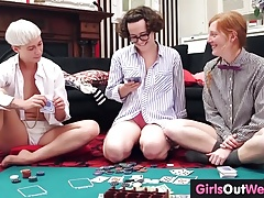 Three hairy lesbians lick and rim each other