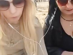 Two Russian girls are walking through the woods masturbate
