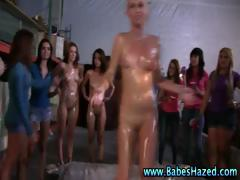 Oily teenagers get  and cunnilingus in initiation