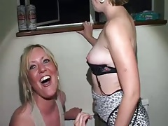 British Wife cheats at CFNM Bachelorette party with lesbian