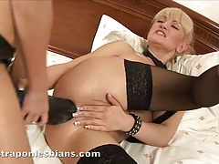 Rocky  Anita's brown sphincter with a monster strap on dildo