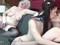 Youthful maid chick drills 2 aged timers